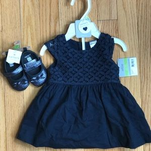 Carters Baby Girls Dress set and Shoes Size 3mo